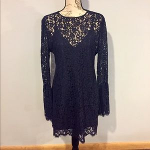 NWT Navy Blue Solid Lace Bell Sleeve Dress